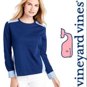 Vineyard Vines Blue striped Mixed Media Sweater
